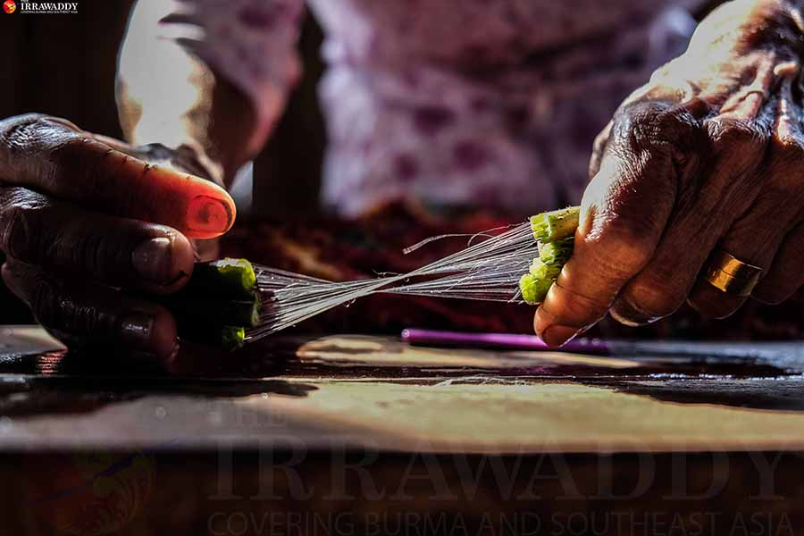 Traditional Lotus Weaving in Inle Lake, Myanmar